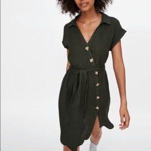 Zara olive linen mini button asymmetrical dress